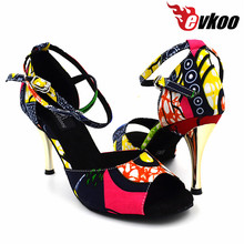 Evkoodance African Print style 3 inch 8.5cm girls Professional around strip Ballroom Salsa Latin Dance Shoes for Women Evkoo-436