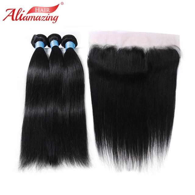 Ali Amazing Hair Brazilian Straight Hair 3 Bundles With 13x4 Lace