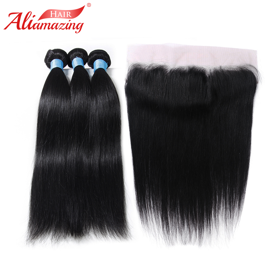 Ali Amazing Hair Brazilian Straight Hair 3 Bundles with 13x4 Lace Frontal Remy Human Hair Bundles with Frontal 4pcs/lot #1B