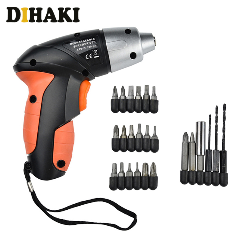 25 Pieces/set Portable Mini Electric Drill 4.8V Rechargable Electric Screwdriver Drill Bits Screw Out Home DIY Repair Power Tool
