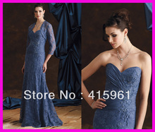 Luxury Navy Long Beaded Lace Mother of the Bride Dresses Gowns With Jacket M528