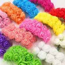 Миниатюрная Роза из пеноматериала шт. 2 см 144 искусственный цветок Букет Многоцветный розы Свадебные украшения Скрапбукинг искусственный цветок Роза