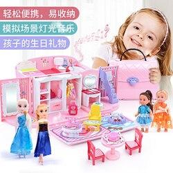 Frozn elsa giochi per le ragazze per bambini giocattoli per bambini cucina giocattoli di cucina set cibo per la casa di bambole mobili miniature casa delle bambole