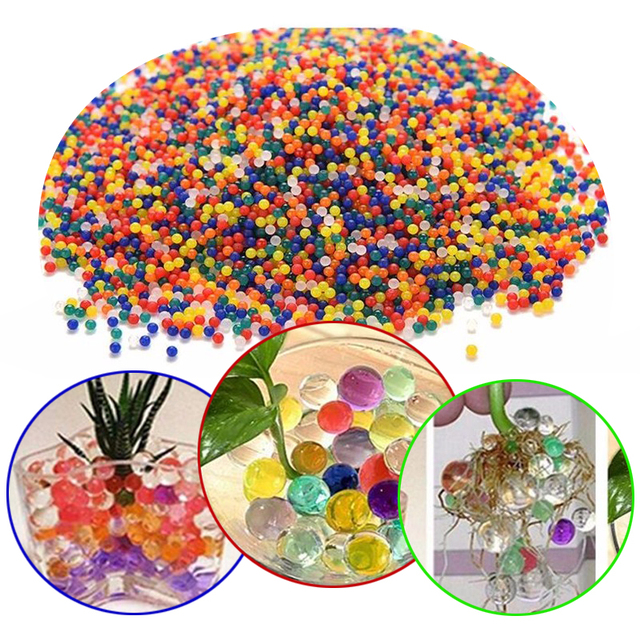 10000 pcs /Bag Home Decor Pearl Shaped Crystal Soil Water Beads Bio Gel Ball For Flower/Weeding Mud Grow Magic Jelly Balls