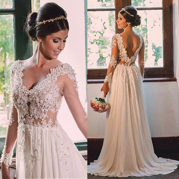 Elegant Tulle & Chiffon V-neck Neckline Sheath Wedding Dresses With Beaded Lace Appliques see-through bodice Bridal Gowns
