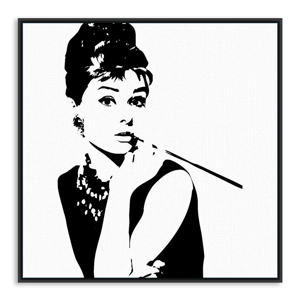 Modern minimalist black white audrey hepburn portrait pop movie art print poster abstract wall picture canvas painting home deco in painting calligraphy