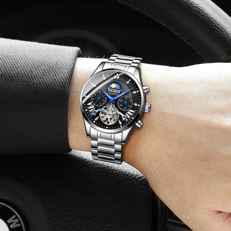 HAIQIN גברים/mens שעונים למעלה מותג יוקרה אוטומטי/מכאני/יוקרה שעון גברים ספורט שעוני יד mens reloj hombre tourbillon