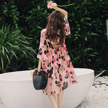 3 Piece Bikini Set Pink Floral Print High Waist Boxer Shorts Print Floral Scarf Cover Up Beach Dress Bathing Suit