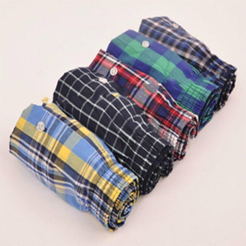 Underwear men 5 шт. лот свободные шорты мужские трусики хлопок боксер мужчины плюс Большой большой размер Удобные Мягкие плед под износа