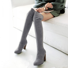 2016 Hot New Arrival Winter Women Boot Thigh High Boots Suede Leather High Heel Over The Knee Boots Zapatos Mujer Free Shipping