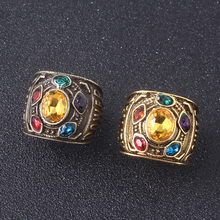2 Colors Avengers Infinity War Thanos Ring Gauntlet Power Stones Rings for Women Men Jewelry Gift