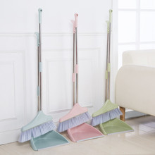 Stainless Steel Broom Dustpan Set Household Foldable Modern Portable Windproof Soft Hair Removable Dustless Cleaning Tools