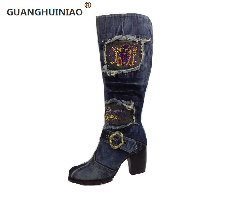ФОТО 2016 the new canvas shoes high heel side zippers high boots denim wash water thick with antiskid Martin boots