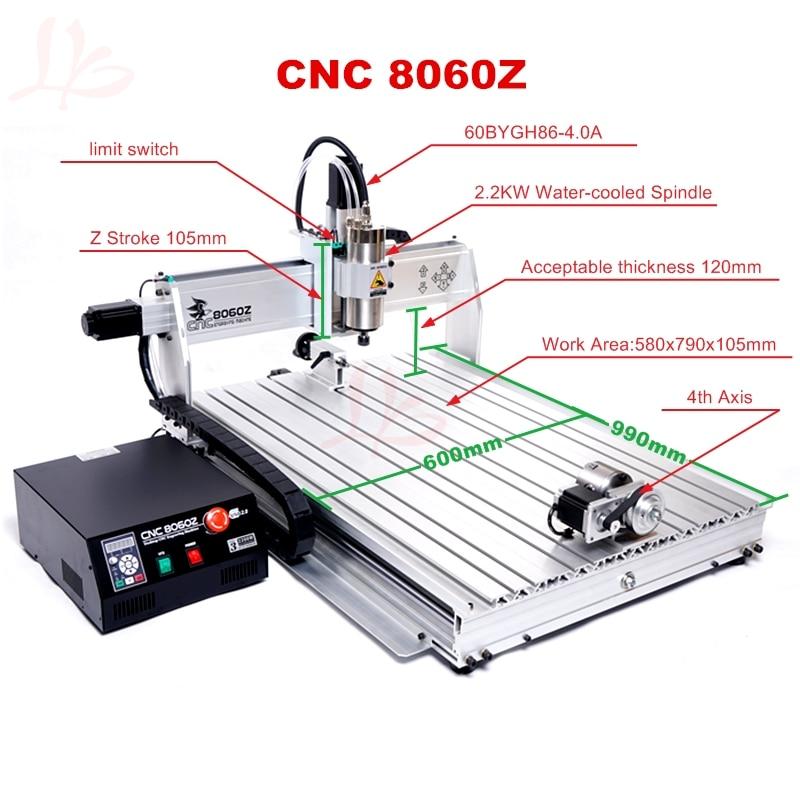 Router di CNC 8060Z 2200 W VFD mandrino raffreddato ad acqua macchina - Attrezzature per la lavorazione del legno - Fotografia 4