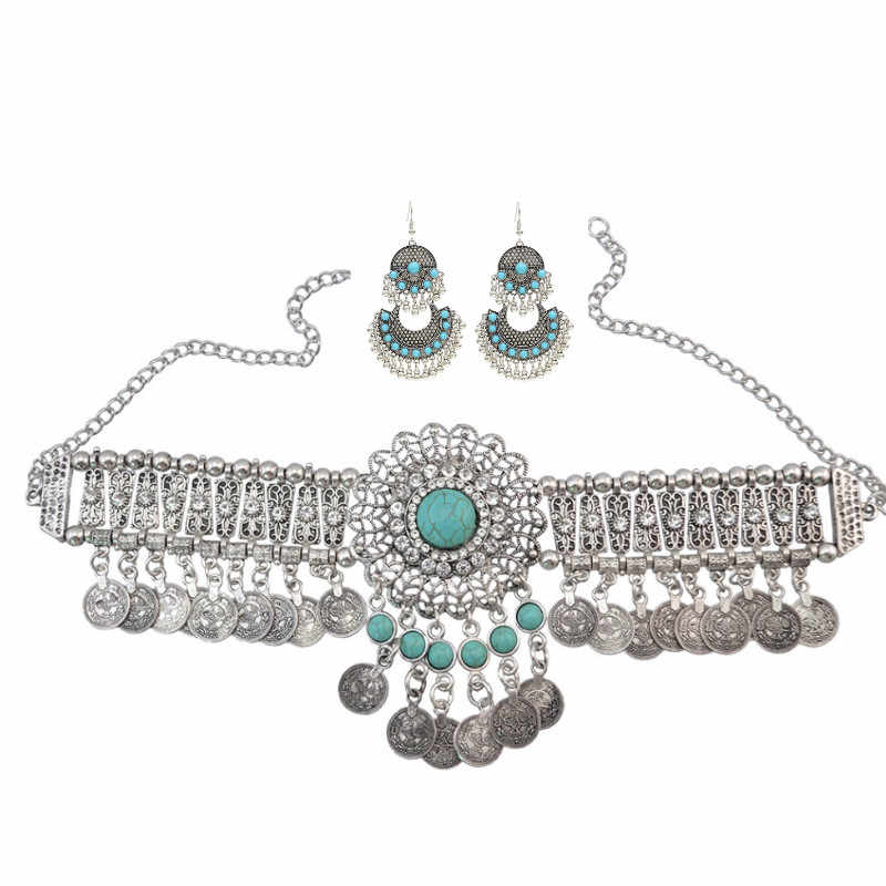 Turkish Ethnic Bead Drop Jhumka India Big Earrings Choker Neckace For Women Collar Egypt Afghan Gypsy African Tribal Jewelry Set