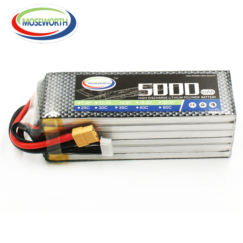 MOSEWORTH 6S RC Lipo Battery 22.2v 5000mAh 60C For RC Aircraft Airplane Car Drones Boat Helicopter Quadcopter Li-ion Battery 6S 1s 2s 3s 4s 5s 6s 7s 8s lipo battery balance connector for rc model battery esc