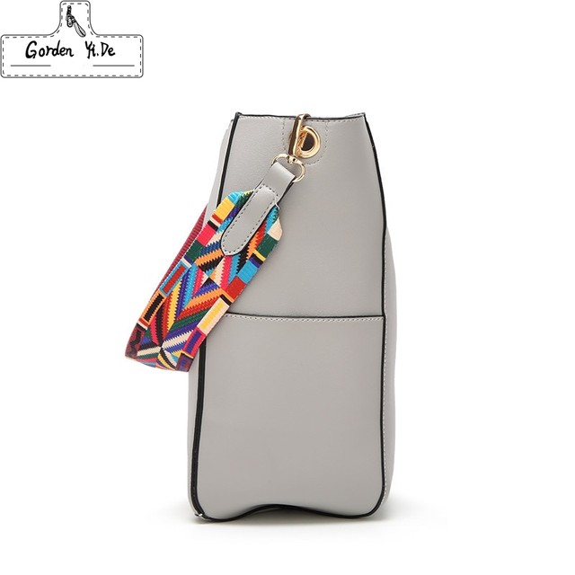 Brand Luxury Handbags 2018 Designer Women Leather Wide Strap Bag Female Shoulder Messenger Bags Bucket Tote