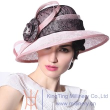 Free Shipping Women Hat Summer Elegant Ladies Lace Sinamay Patchwork Pink Wide brim