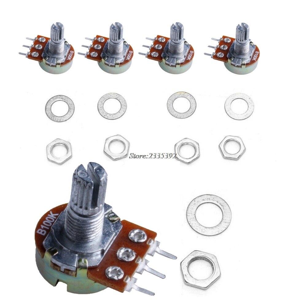 5Pcs 104K ohm Linear Taper Rotary Potentiometer Panel Pot B104K 15mm New