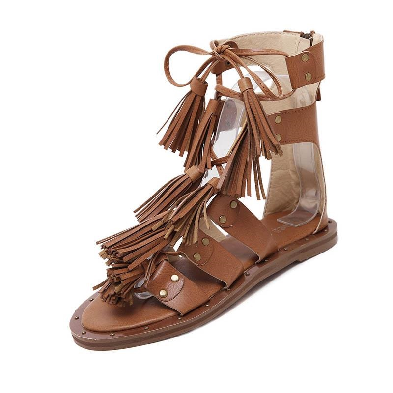 1f13e440e Gladiator Sandals Women Summer Flat Shoes Woman 2017 New Designer  Cross-Strap Fringe Rome Retro Fashion Casual Ladies Sandles