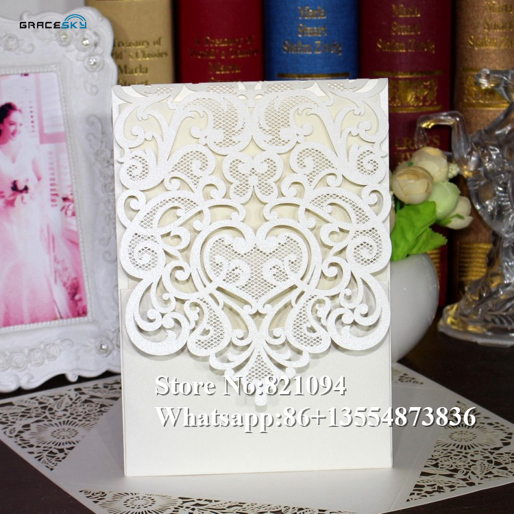 50*Free Shipping laser cut hollow heart lace desgin pocket style Paper Wedding Birthday  ...