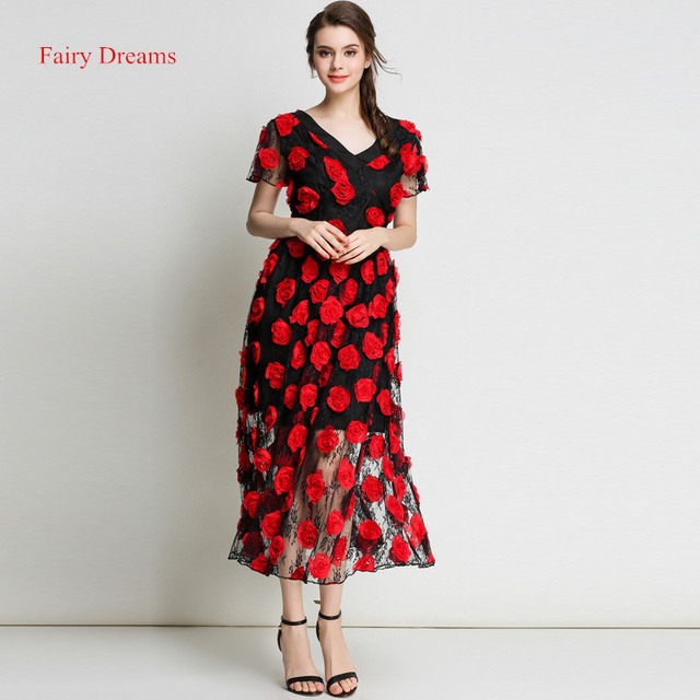 Aliexpress.com : Buy Fairy Dreams Women Midi Dresses Red Rose ...