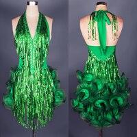 Women Flower Laser Sequined Tassel Latin Dance Skirt Girls Halter One Piece Dress Competition Clothing