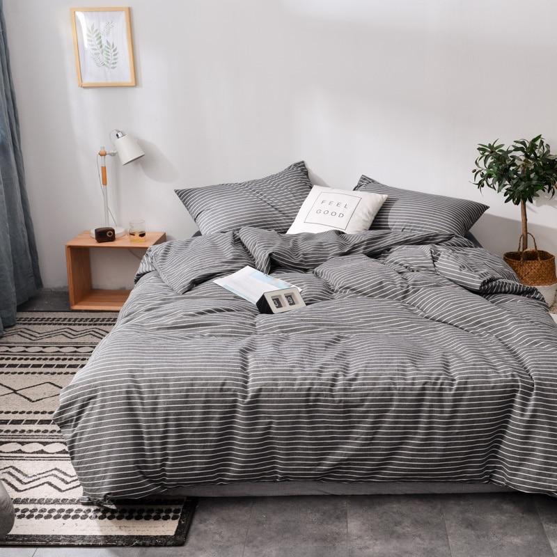 Grigio scuro Strisce stile Giapponese Morbido 100% di lavaggio cotone cotone cotone 3/4pcs set di biancheria da letto (copripiumino + lamiera piana + federa)-in Completi letto da Casa e giardino su  Gruppo 1