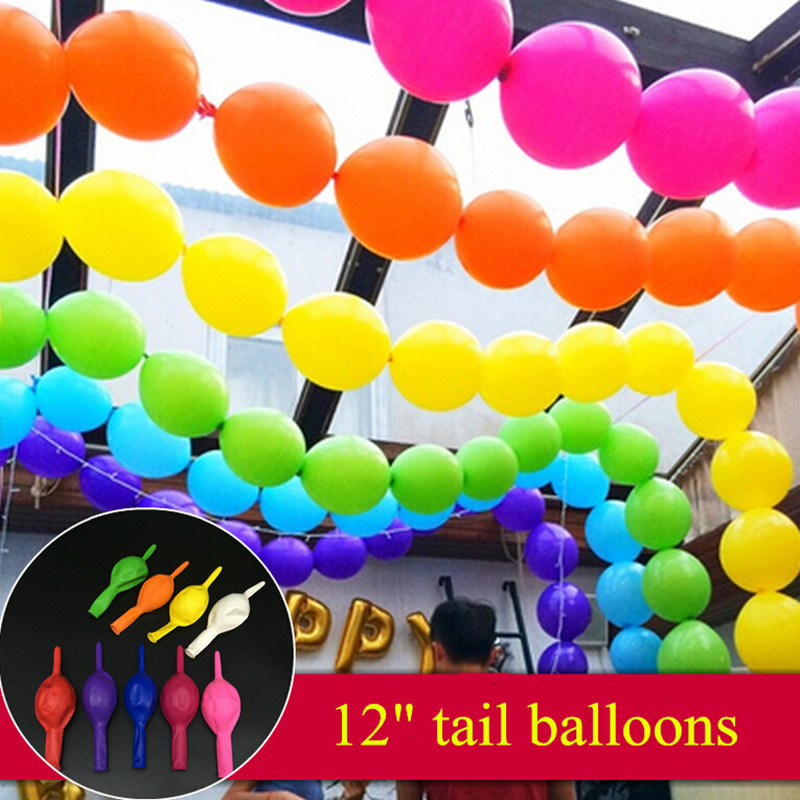 Hot sale100pcs/lot 12inch Pearl Latex Helium tail balloons Wedding decoration Pa