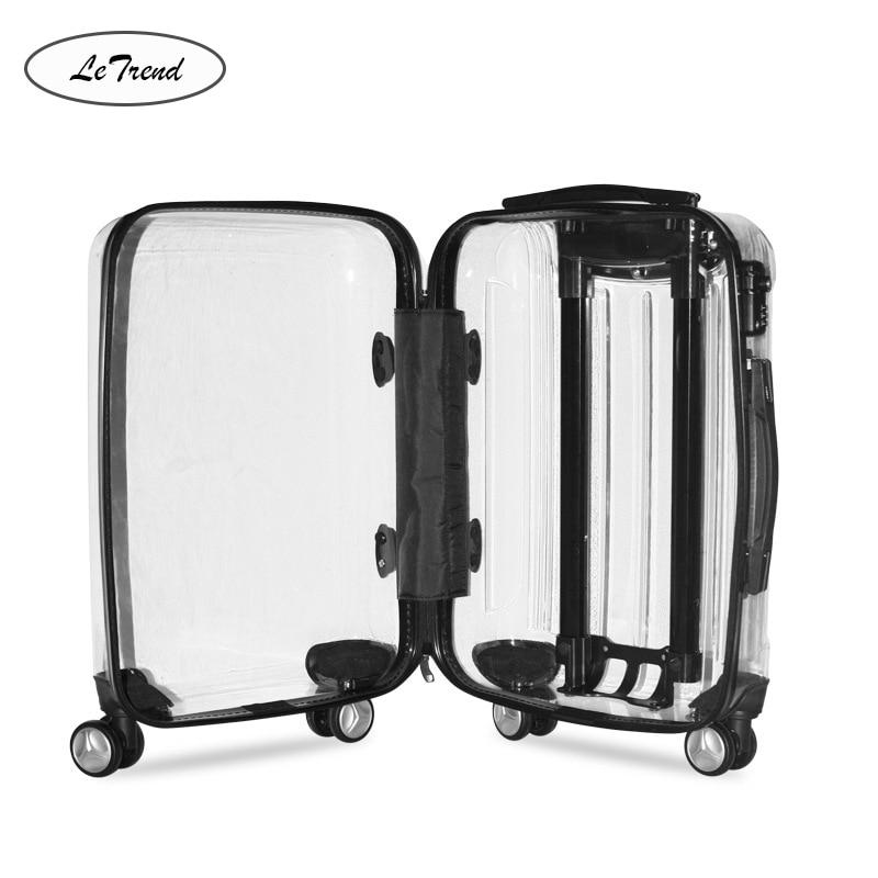 Bagaj ve Çantalar'ten Bavullar'de LeTrend 100% Şeffaf Marka Haddeleme Bagaj Spinner Erkekler Uluslararası Arabası Bavul Tekerlekler 20 inç Kadın Kabin Seyahat Çantaları'da  Grup 1