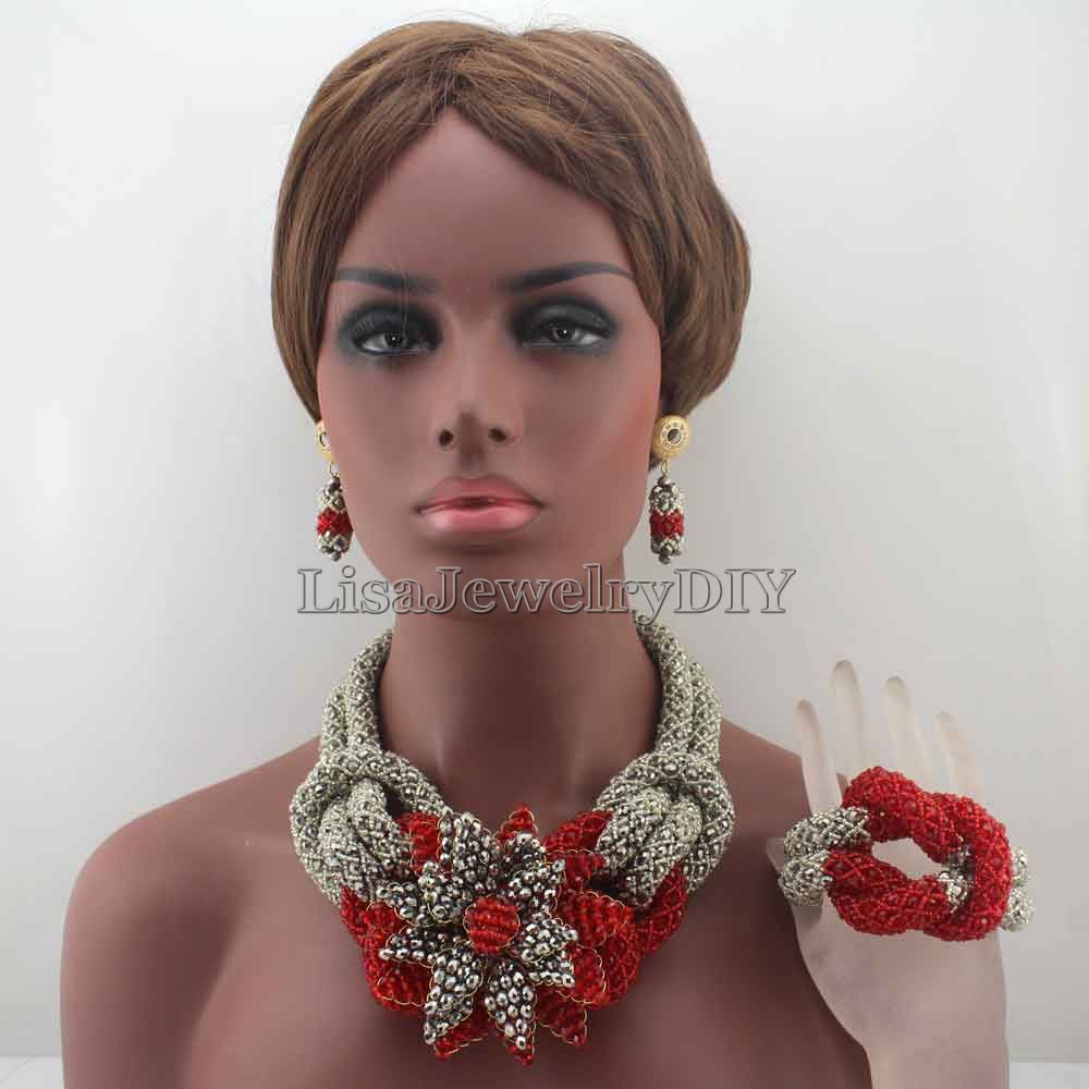 Charms African Red/Silver Beads Jewelry Sets for Women Mix Flower Crystal Floral Statement Necklace Set Free Shpping HD8047 hyperbolic layered beads floral necklace for women