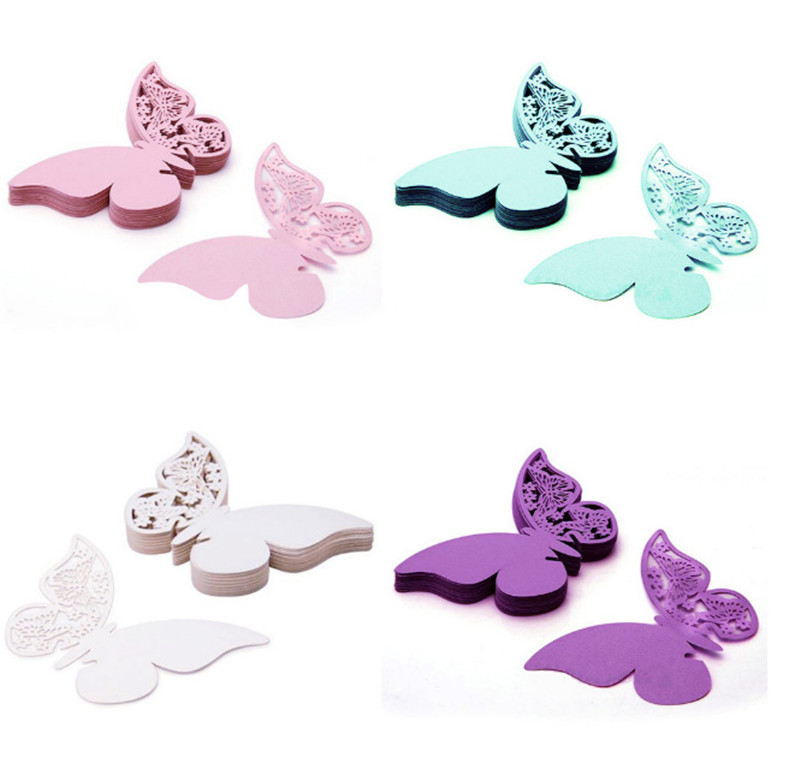 50 pcs DIY Butterfly Place Escort Wine Glass Cup Paper Card for Wedding Party Home Decorations White Blue Pink Purple Name Cards