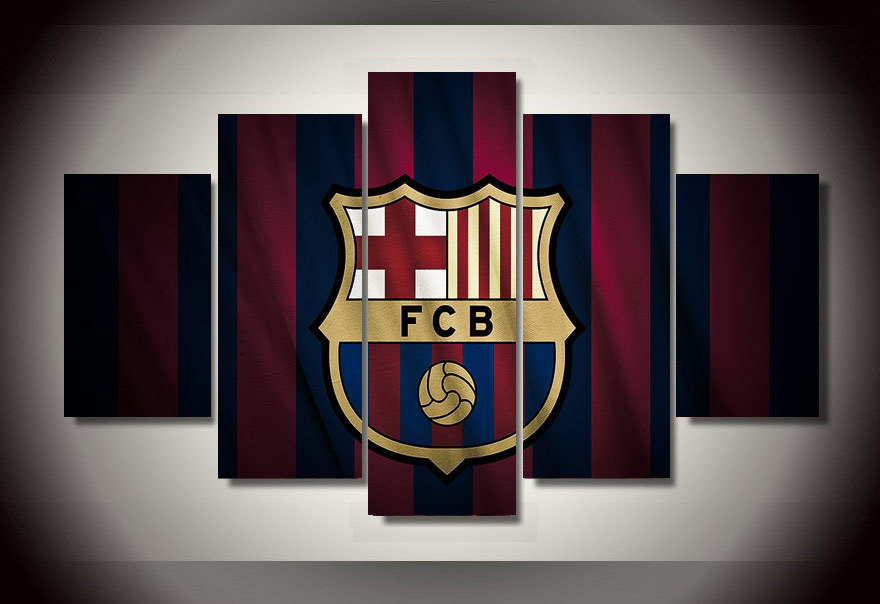 Unframed Printed Barcelona F C Group Football Painting