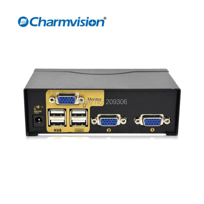 Discount 25% off Charmvision UK201R 2 PC hosts USB2.0 HUB KVM switch with remote control original 1.8m cable Mini auto switching
