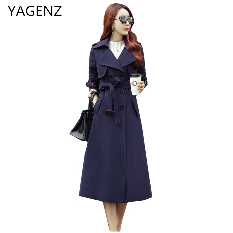 Spring New Women   Trench   Coat 2018 Fashion Slim Elegant Double-breasted Long Coat Autumn Long sleeves Casual Female Windbreaker
