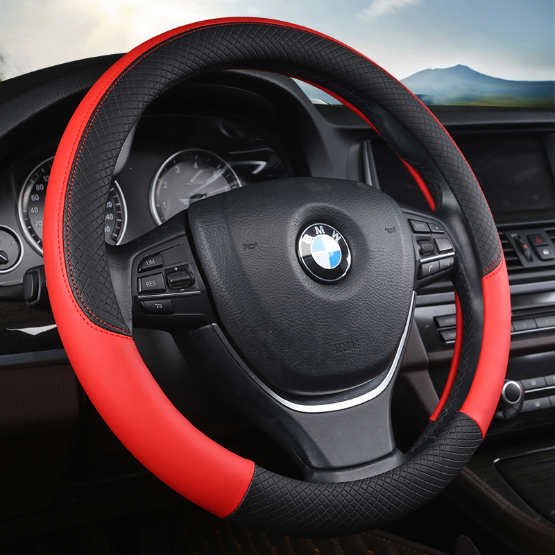 Hot Sale PU Leather Universal Car Steering-wheel Cover 38CM Car-styling Sport Auto Steering Wheel Covers Automotive Accessories universal car steering wheel cover 38cm 3d car styling handlebar braid covers sport breathable skid proof car accessories