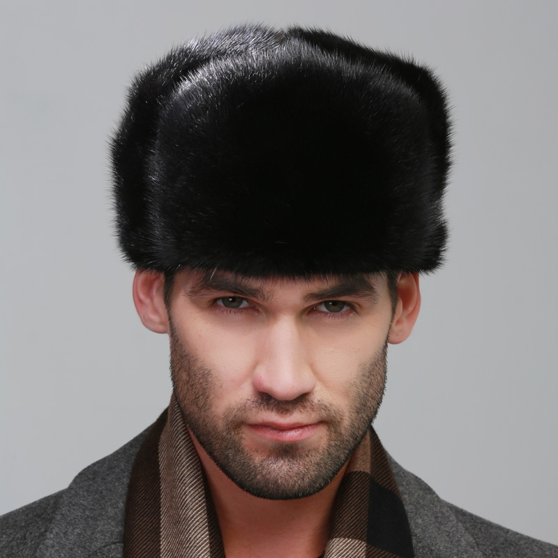 men ear muffs rex mink fur muffs Russian style cap winter Super warm classic show autumn male luxur fur hat hair handsome