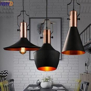 Iwhd الحديد خمر قلادة أضواء fixures لوفت الإبداعية مصباح أديسون الصناعية الأمريكية نمط لمطعم بار إضاءة المنزل