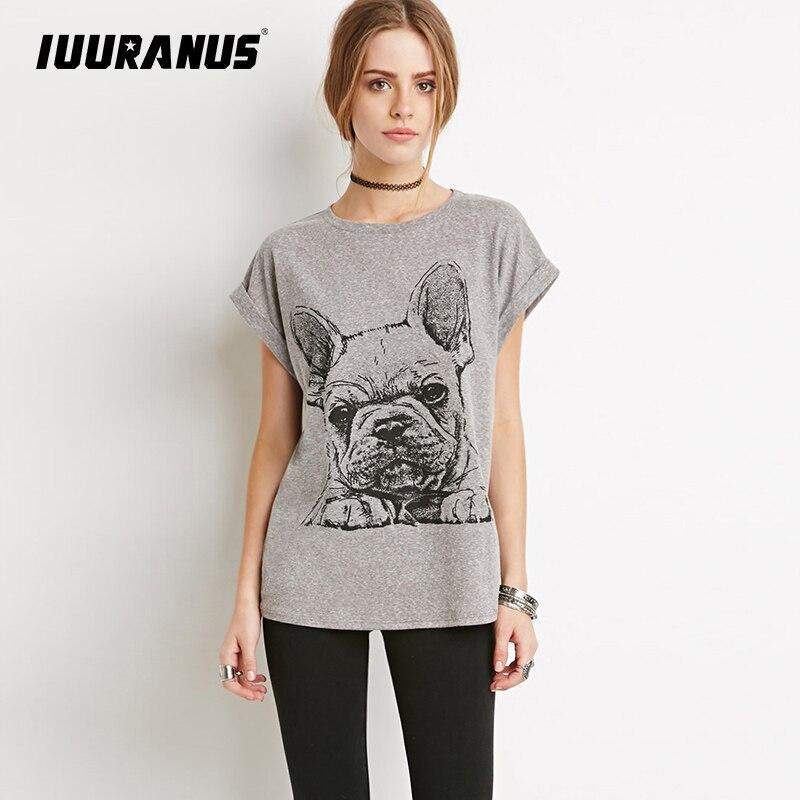 IUURANUS cartoon dog Printed Womens T-Shirt Cotton Summer Female Top Tee loose Short-sleeve T-shirt