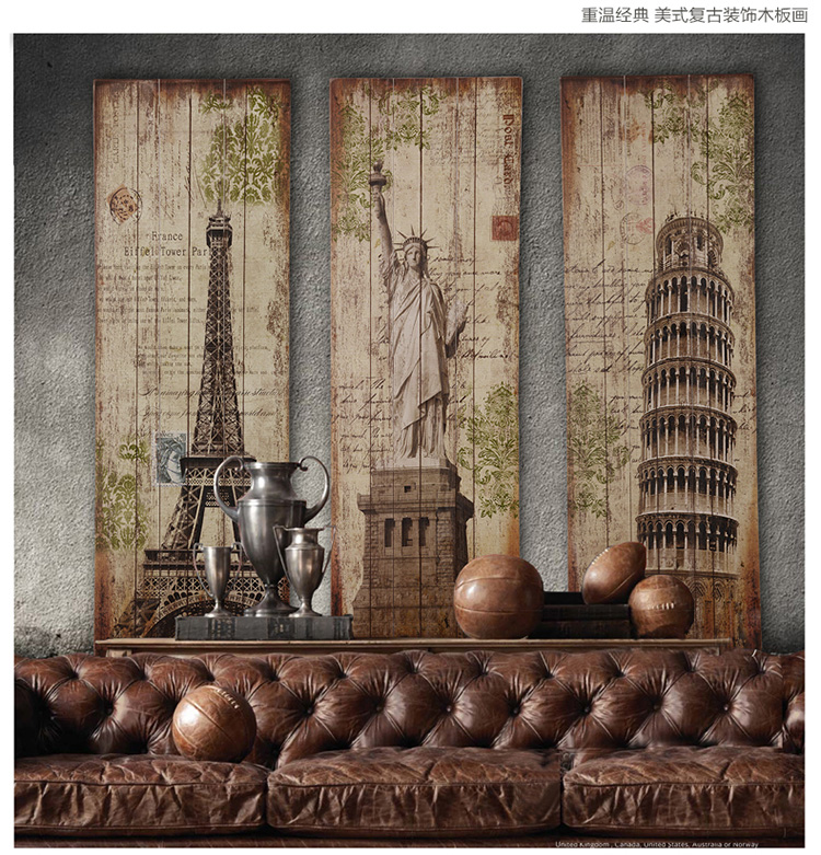 120CM TOP COOL Decor ART-Vintage wooden WALL wood painting drawing-3 Piece HOME office BAR RETRO Decor art -Liberty  Eiffel Towe