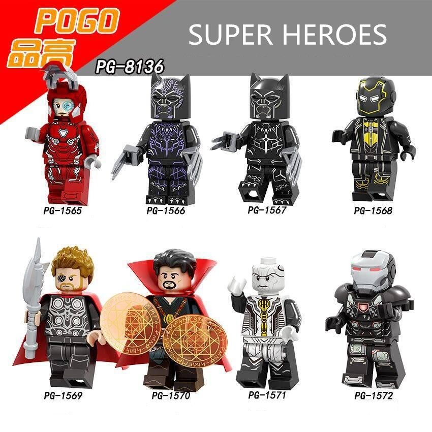 Building Blocks PG8136 Super Heroes Thor War Machine Black Panther Doctor Strange Ebony Maw Dolls Bricks Gifts Toys for Children