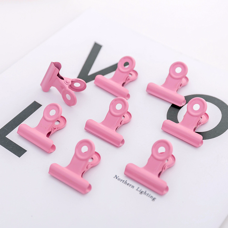 Metal Binder Clips Pink Folder Notes Photo Letter Paper Clip Clamp School Office Stationery For Kids Student Prize