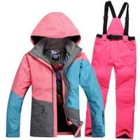 Free Shipping New 2016 Winter Brand Women Waterproof Women Ski Suit Set Snowboard Jacket And Pants