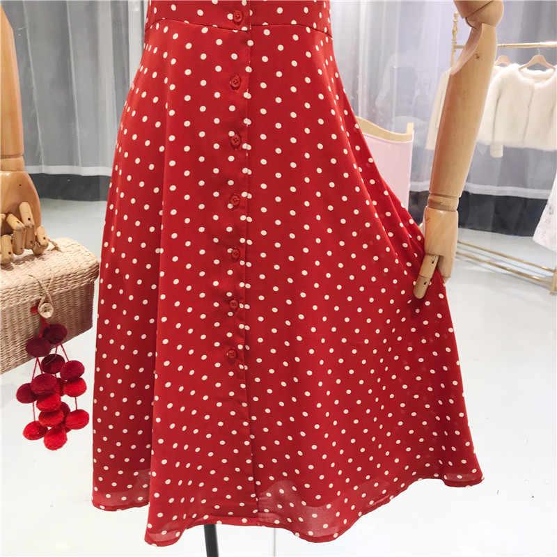 8645cbeb1 ... Flectit Vintage 80s Dress French Style Polka Dot Button Up Midi Dress  Short Puff Sleeve High ...