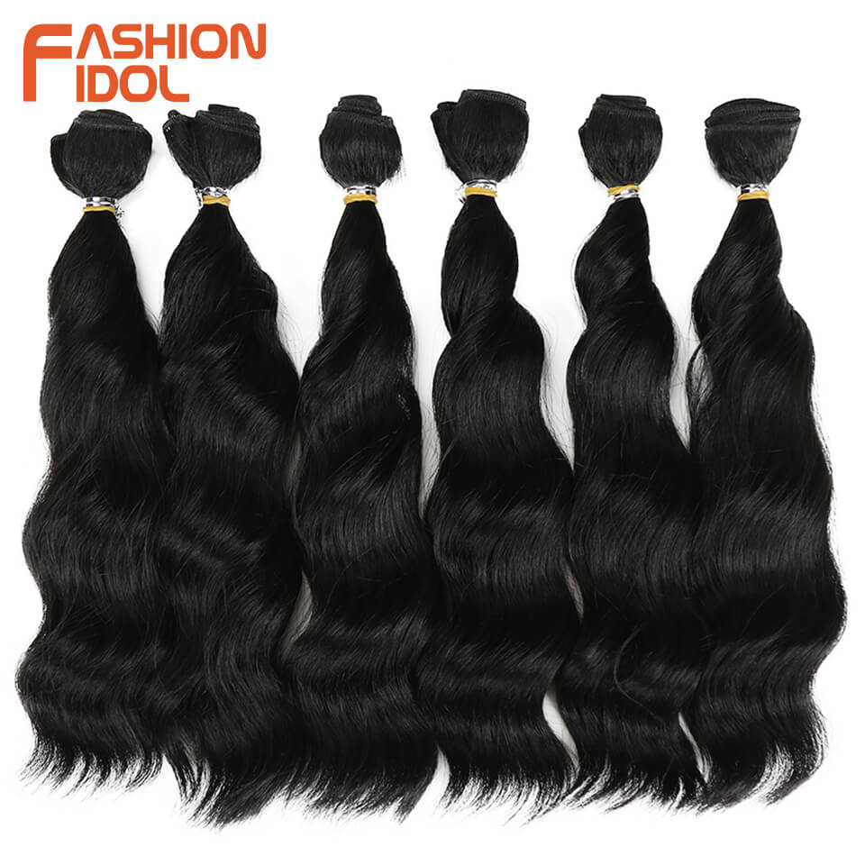FASHION IDOL Synthetic Hair Loose Wave Bundles Hair Weave Bundles 6 Pieces 12 Inch Natural Color Hair Extensions Free Shipping