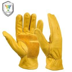 OZERO rękawice robocze skórzane męskie ochronny zabezpieczający zużycie pracowników bezpieczeństwa spawania poręczny Moto kierowcy ciepłe rękawiczki dla mężczyzn 0006