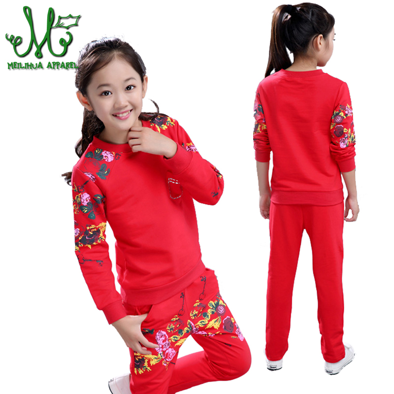 Girls Sports Suits Clothing Sets For 5 6 8 10 12 14 Year Girl print Tracksuits Costume Cotton Spring &Autumn Sportswear Outfits 2014 spring autumn new fashion girls sports suits zipper coat trousers flowers print big girl clothes sets children sportswear