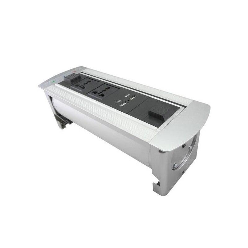 Multifonctionnel électrique de table prise de retournement manuel 2 prises universelles + 2 USB chargeur Rotation 180 degrés conception cachée