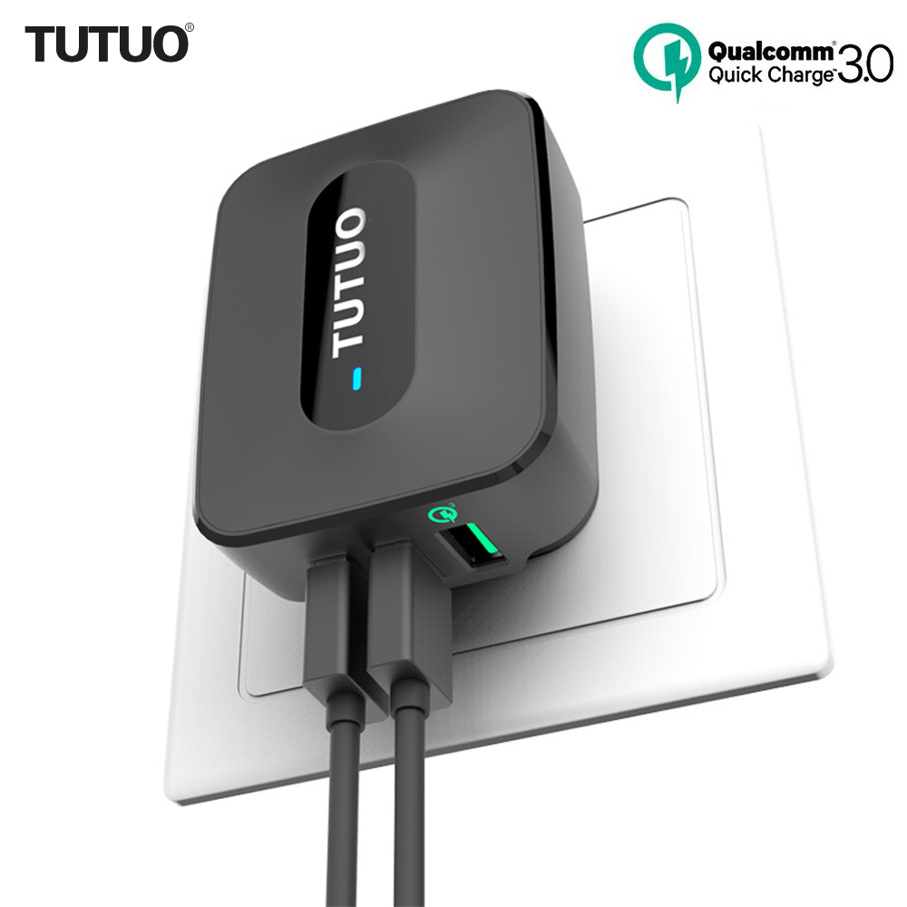 TUTUO Quick Charge 3.0 QC-028P 25W 3-Port EU/US Plug Fast USB Wall Charger Adapter for Galaxy S7/S6/Edge/Xiaomi Redmi/iPhone 7 tronsmart ts cc2pc quick charge 2 0 two port car charger for galaxy s6