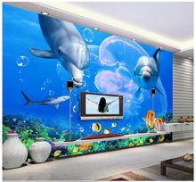 hot deal buy 3d wallpaper wall murals custom picture mural wall paper dolphin white shark underwater world television background wall decor